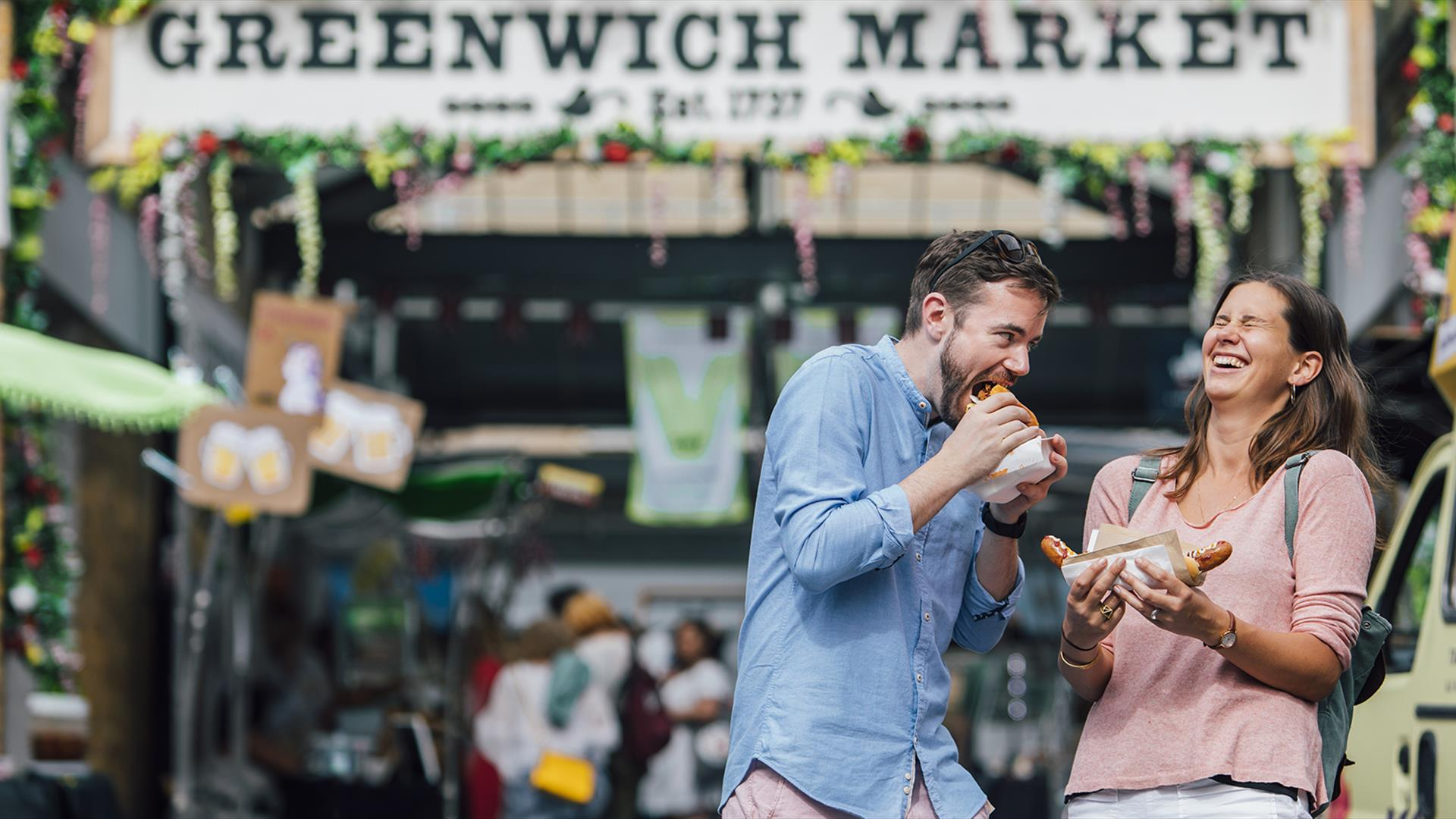 Visitors experiencing Greenwich Food Market