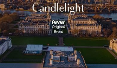 Artwork is overlooking grounds of Royal Museums Greenwich and Old Royal Naval College with the event name in white text.