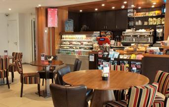 The interior of the Emirates Aviation Experience cafe.