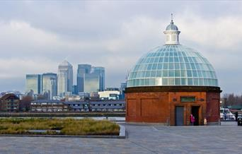 The domed Greenwich Foot Tunnel beside Cutty Sark in Greenwich, London.