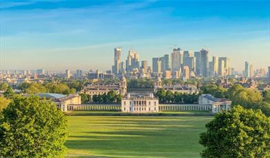 The view from the General Wolfe Statue at the top of the hill in Greenwich Park.