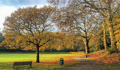 An autumnal day at Maryon Park in Charlton, Greenwich.