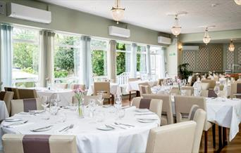 The Meridian Restaurant at The Clarendon Hotel overlooks the beautiful gardens.