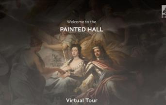 Image of part of the Painted Hall with 'Welcome to the PAINTED HALL Virtual Tour' text on top.