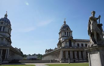 The twin dome's of Christopher Wren's riverside masterpiece, the Old Royal Naval College, in Greenwich, London.