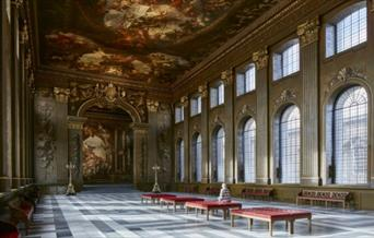 The inside of the grand Painted Hall at the Old Royal Naval College in Greenwich.