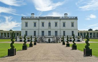 The grand front of the Queen's House in Greenwich.