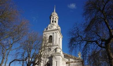 Looking up at St Alfege Church spire in Greenwich