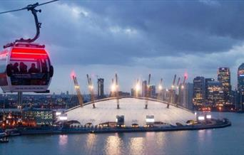 A cabin on the Emirates Air Line, giving amazing views of Greenwich and surrounding areas
